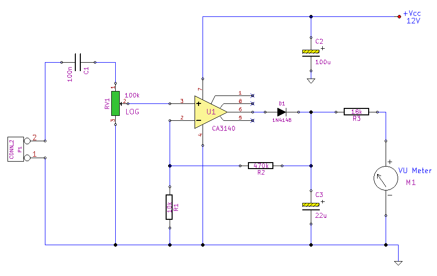Peak Reading Audio Level Meter - schematic