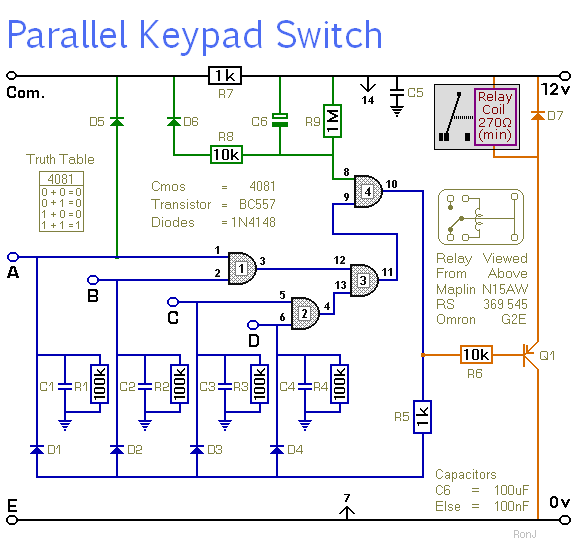 A Simple Keypad-Operated Switch - with enhanced security - schematic