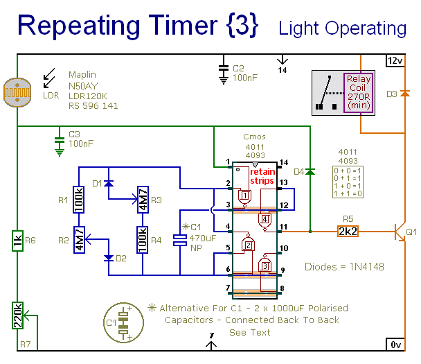 A Light Operated Repeating Timer Circuit - schematic