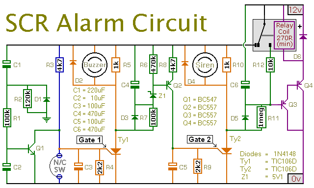 An SCR Based Burglar Alarm - schematic