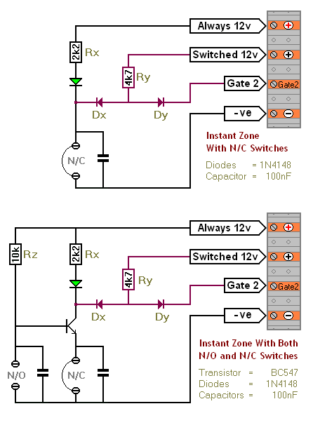 An SCR Based Burglar Alarm - Adding Extra Zones - schematic