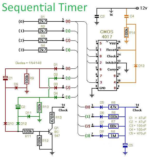How To Build A Sequential Timer Using A Cmos 4017 - schematic