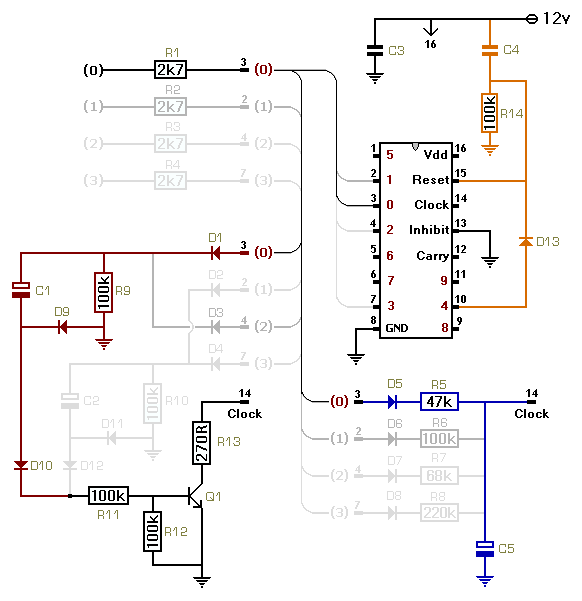 How To Use A Cmos 4017 To Build A Sequential Timer - schematic