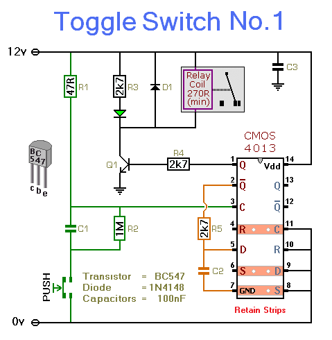 Toggle Switch No.1 - Cmos 4013 - schematic