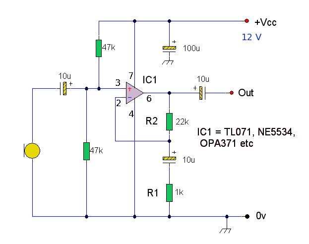 Op-Amp Microphone Preamp - schematic