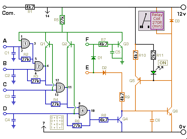 Universal Four-Digit Keypad-Operated Switch - Construction Details - schematic