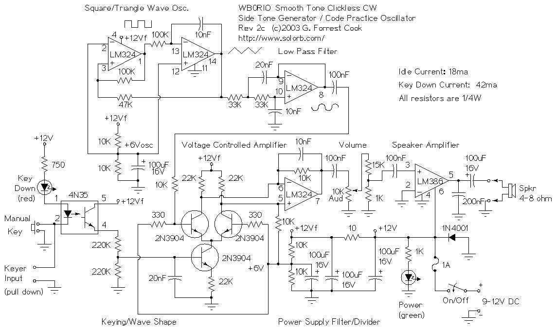 CW Sidetone Generator - schematic