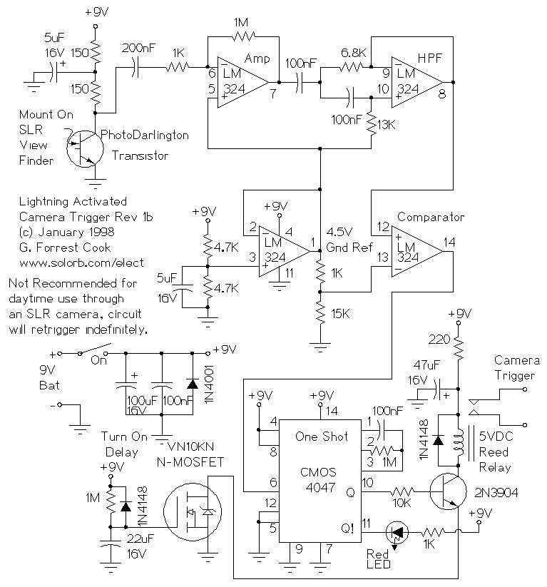Lightning Activated Camera Shutter Trigger - schematic