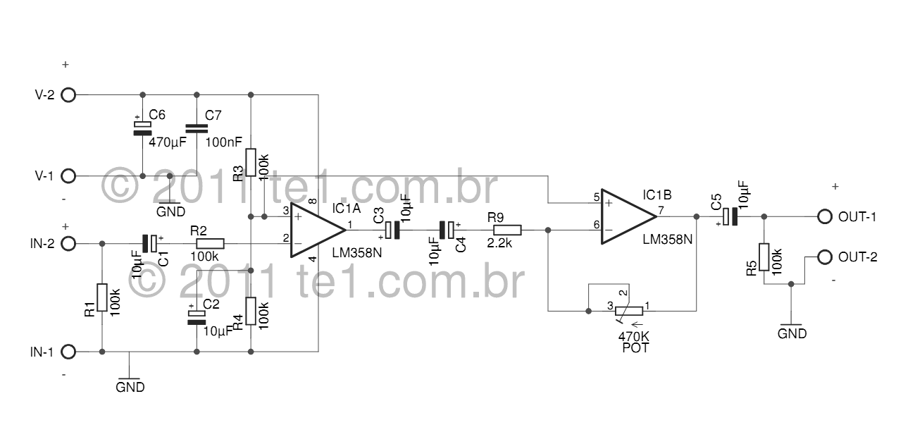 Circuit audio pre-amplifier integrated circuit LM358 dual op amp - schematic