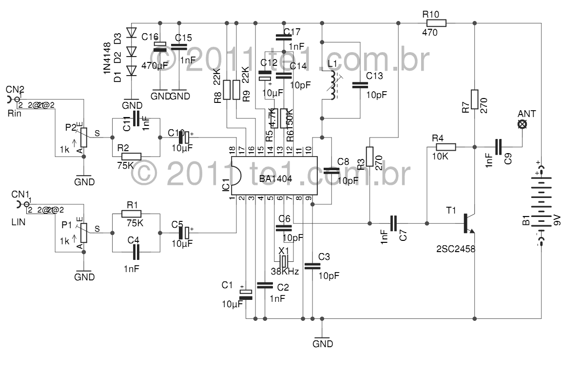 fm stereo transmitter ba1404 diagram - schematic