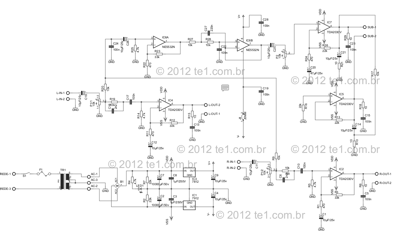 Results Page 7 About Tda 7088 Searching Circuits At Figure 1 Schematic For A Stereo Btl Classd Power Amplifier Audio Subwoofer Ne5532 Tda2030