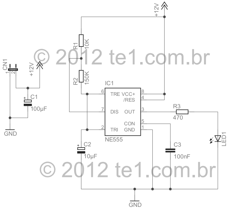 fake car alarm 555 led flash schematic - schematic