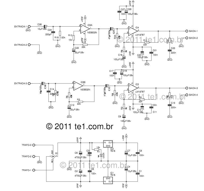 Circuit power audio amplifier stereo with LM1875 and preamp for NE5532 2 x 20 Watts - schematic
