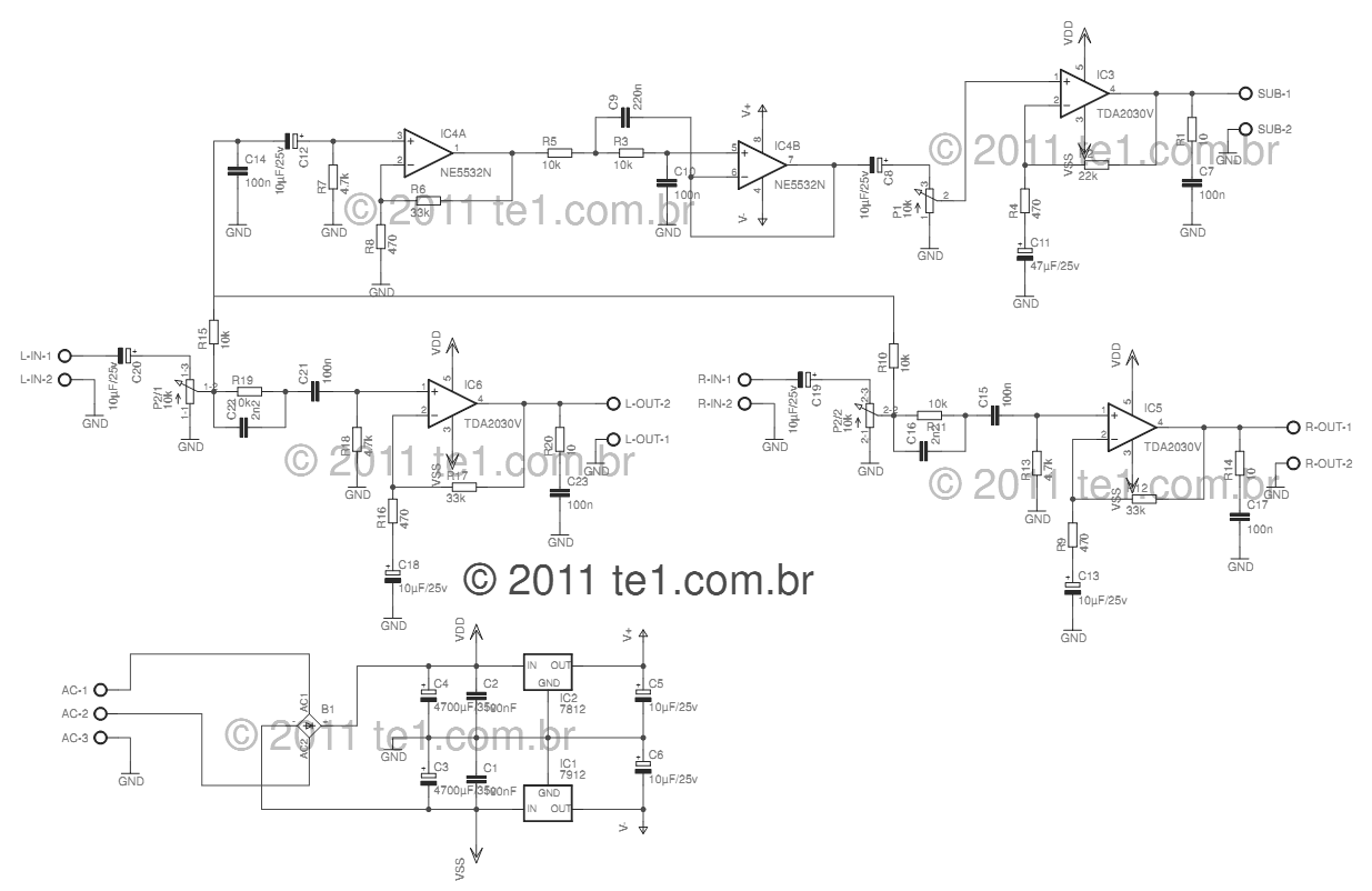 WRG-0704] Tda2050 Amplifier Circuit Diagrams