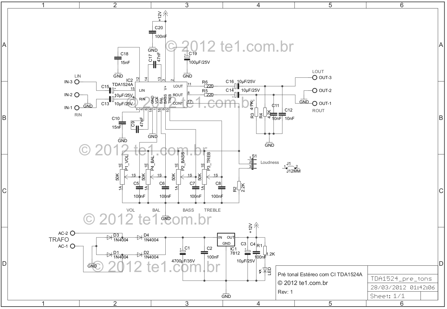 preamplifier stereo tda1524a bass treble schematic - schematic