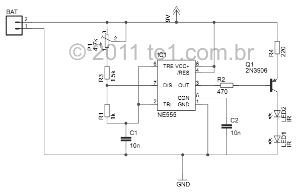 TV remote control Blocker Circuit Jammer using Ic 555 and IR Leds - schematic