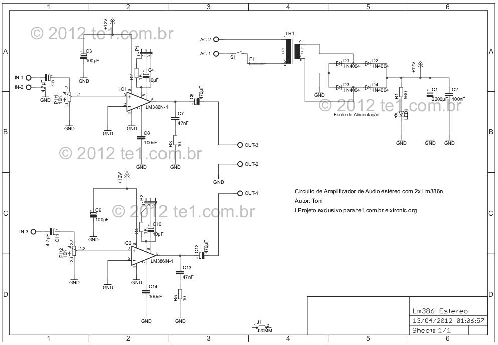 stereo audio amplifier lm386 schematic - schematic