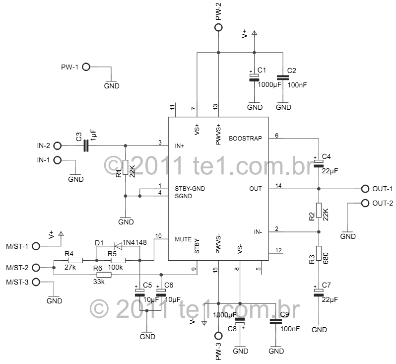 100 watts Audio Amplifier Mono With DMOS IC MOSFET TDA7293 - schematic