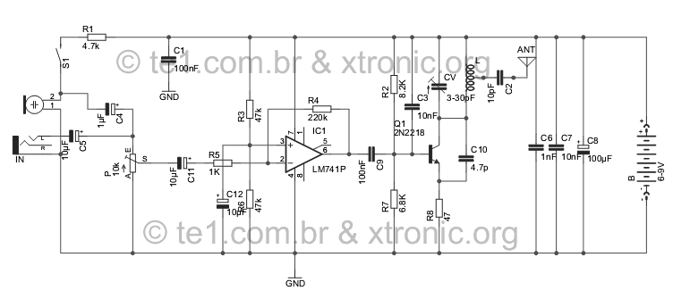 Circuit FM transmitter for MP3 and MP4 Player 2n2218 and 741 opamp - schematic