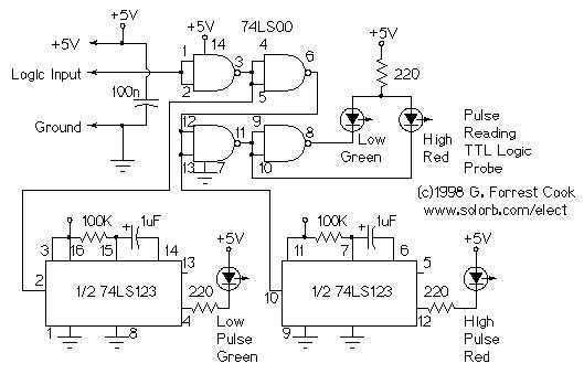 Pulse Reading Logic Probe - schematic
