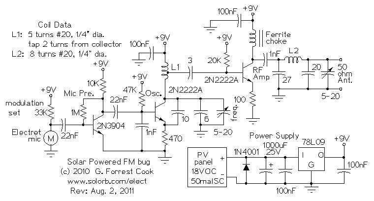 Micro Power FM Broadcasting Circuits - schematic