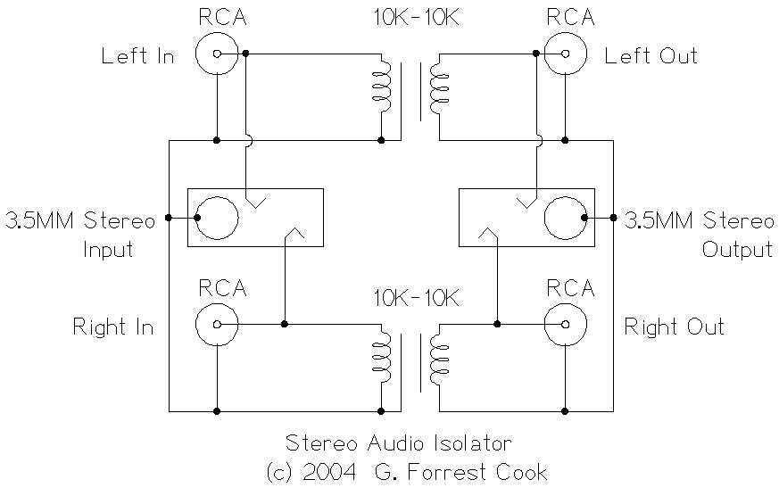 Stereo Audio Isolator - schematic
