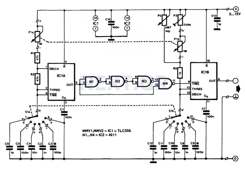 Low Cost Pulse Generator circuit - schematic