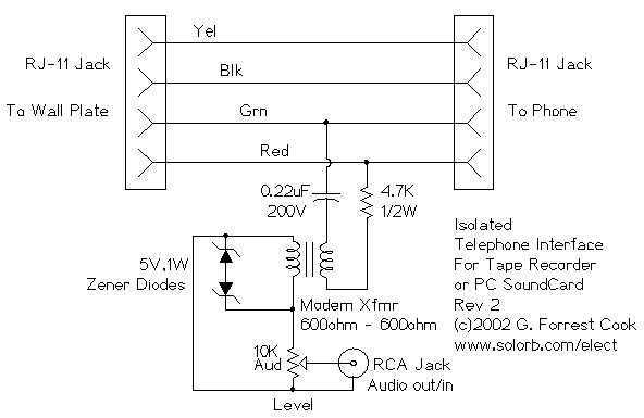 Isolated Telephone Interface - schematic