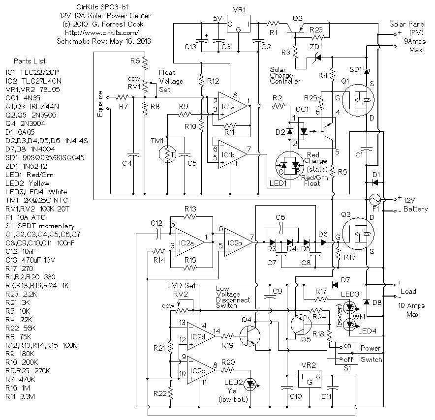 6 Amp Solar Power Center - schematic