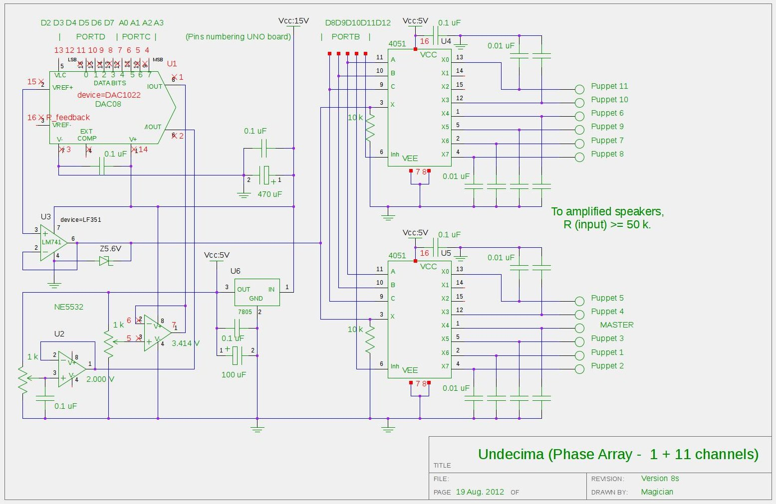 UnDecima Audio Output from Arduino - schematic