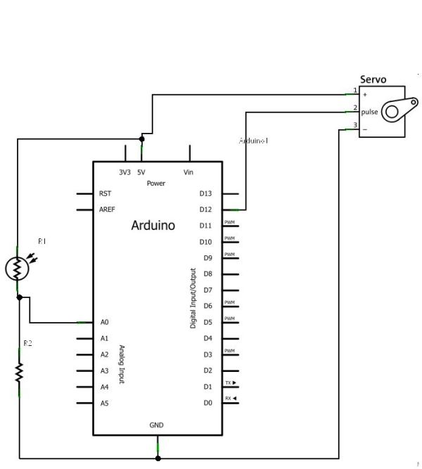 Control Servo with Light using Arduino - schematic