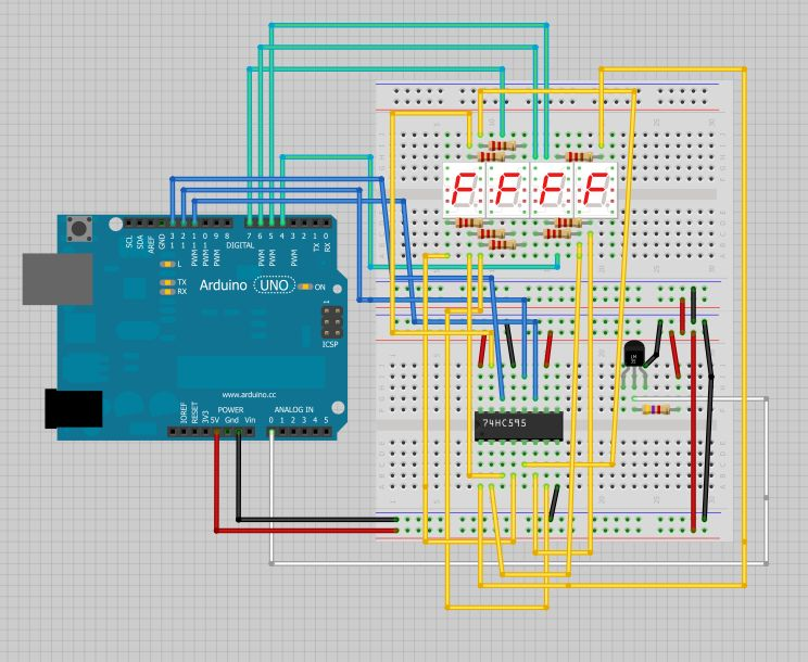 Temperature Displayed on 4 Digit 7 segment using Arduino - schematic