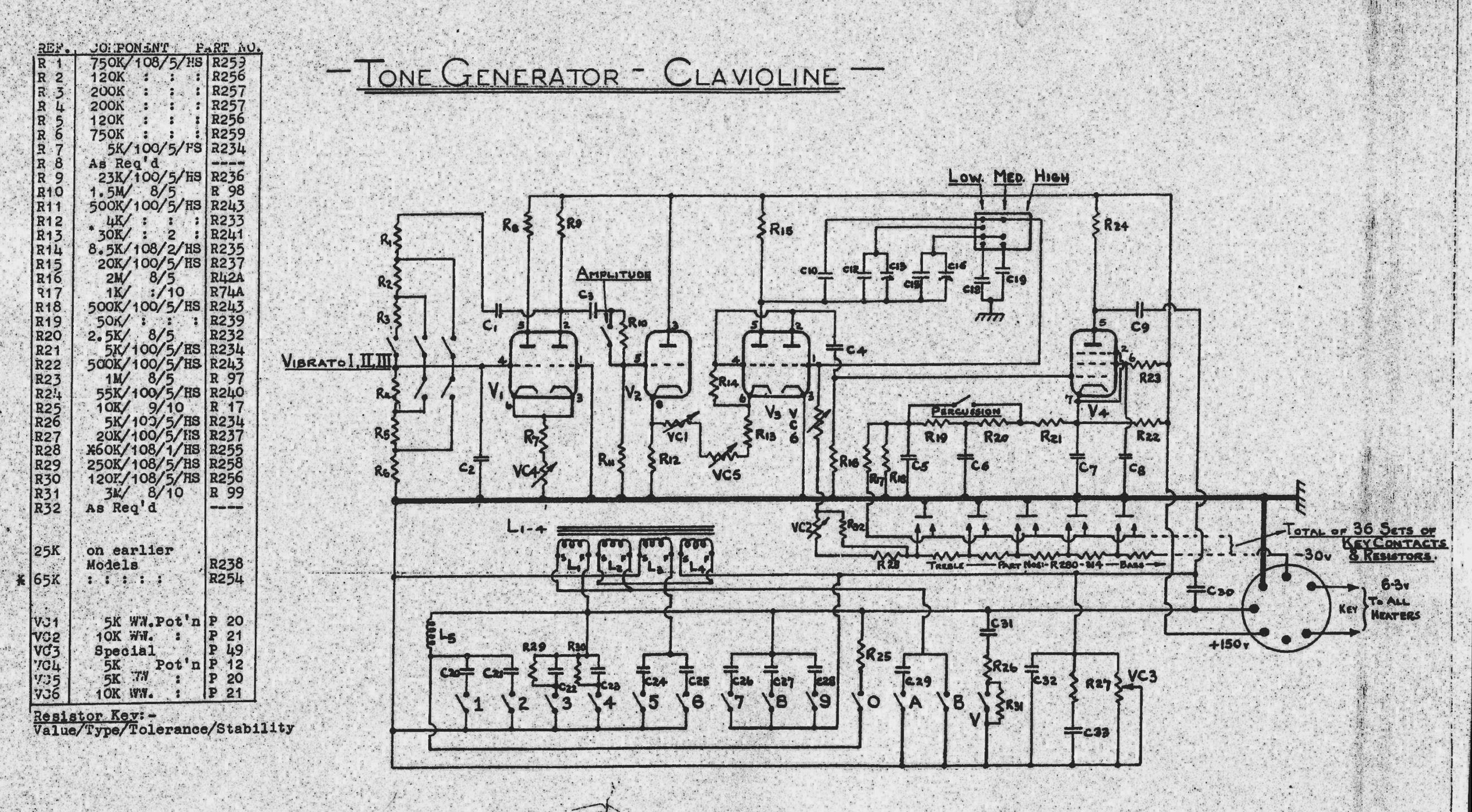 Gibson Clavioline Keyboard Instrument (1953) - schematic