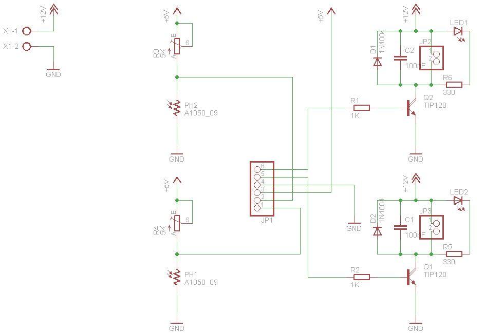 Light Follower Robot using Arduino - schematic