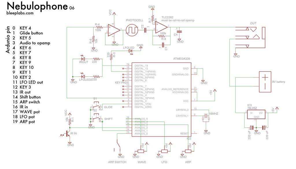 DIY Arduino Nebulophone Synth - schematic