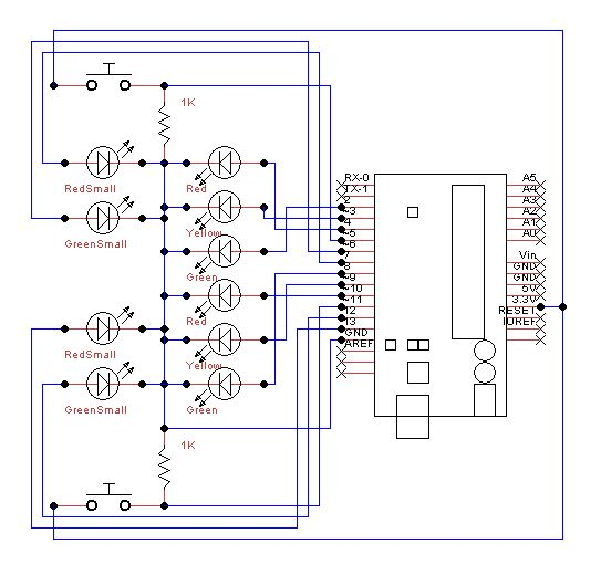 Traffic Lights Beginner Arduino Project - schematic