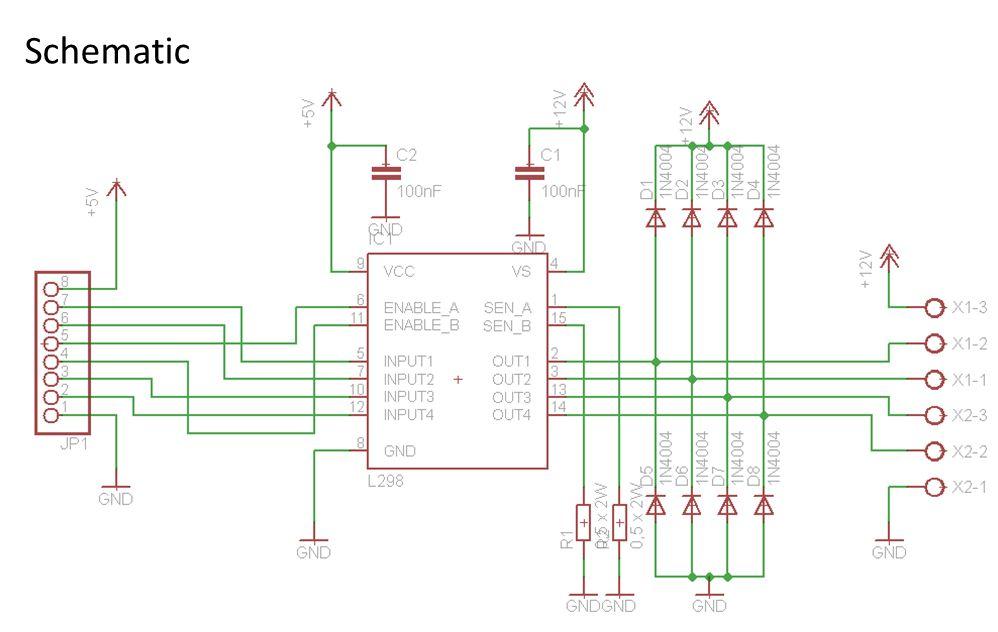 Homemade Dual H-Bridge6 L298 Breakout Board using Arduino - schematic