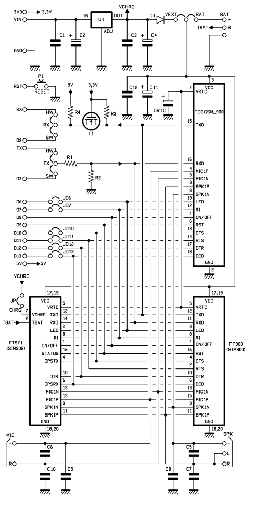 GSM GPS shield for Arduino Board - schematic