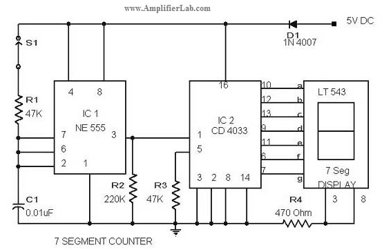 Simple 7-Segment Counter Circuit - schematic