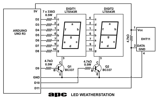 arduino masterclass part 2 build an led weather station - schematic