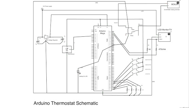 Build a fully featured Arduino Thermostat - schematic