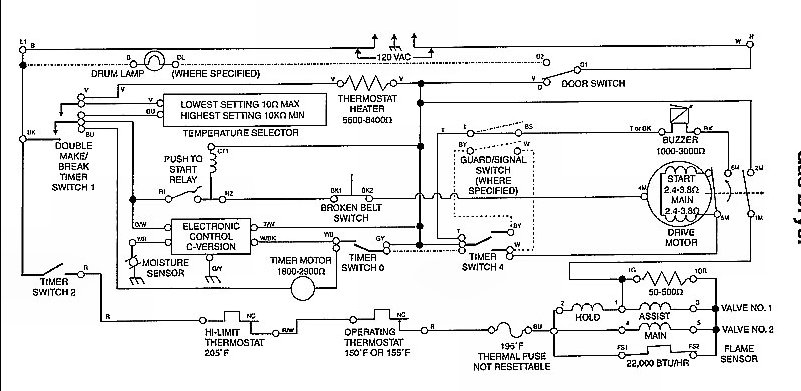 How to Troubleshoot a Gas Dryer with No Heat - schematic