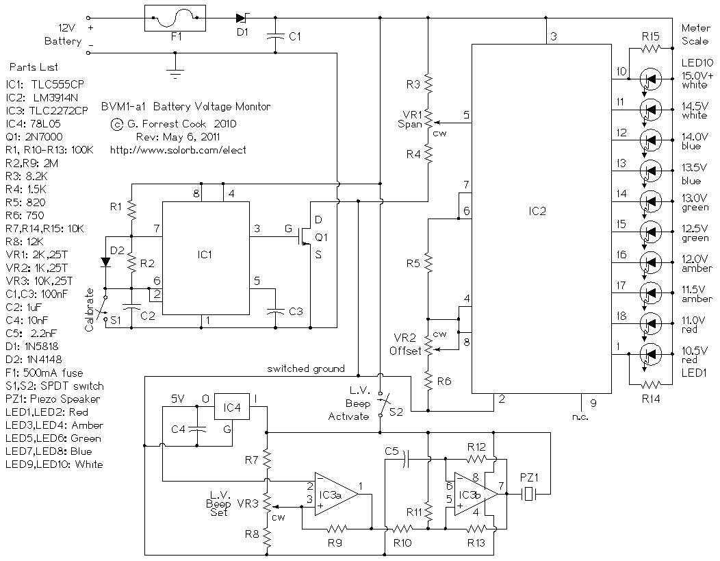Battery Low Voltage Beeper - schematic