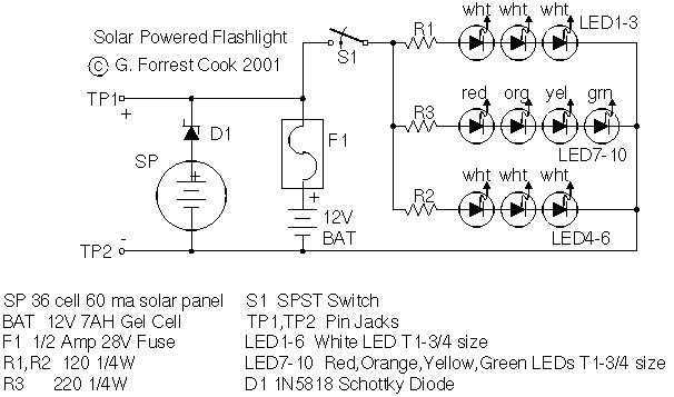 Solar Charged LED Utility Light - schematic