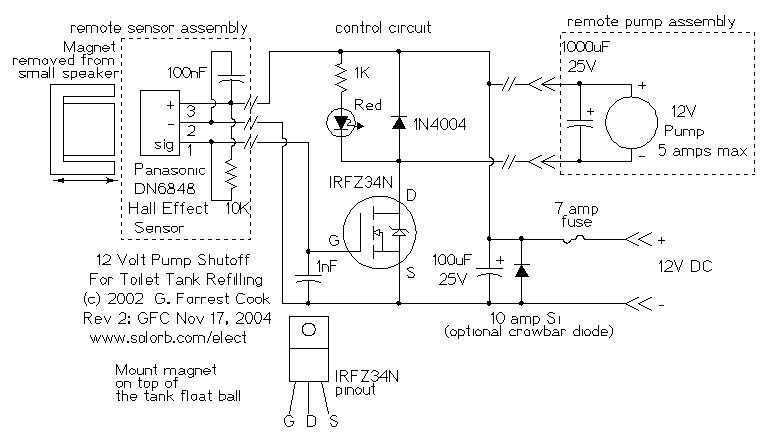 Hall effect sensor as Toilet Tank Refiller - schematic
