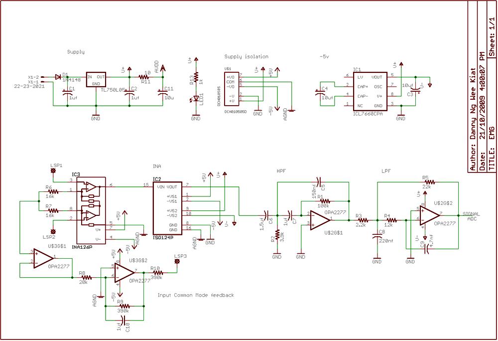 Electromyogram Monitor - schematic