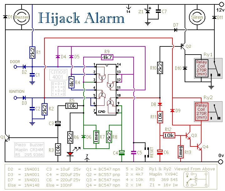 HiJack car Alarm - schematic