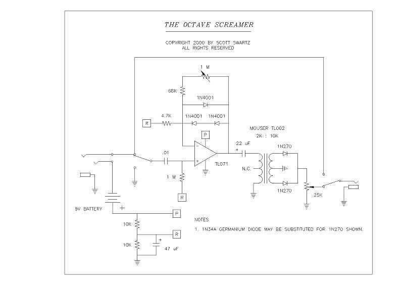 Tube Screamer to Octave Screamer - schematic