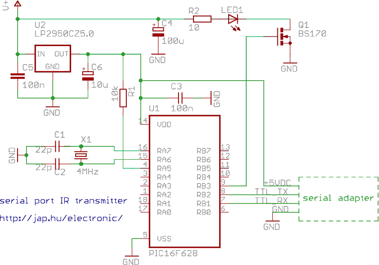 Serial port controlled infrared transmitter with PIC - schematic