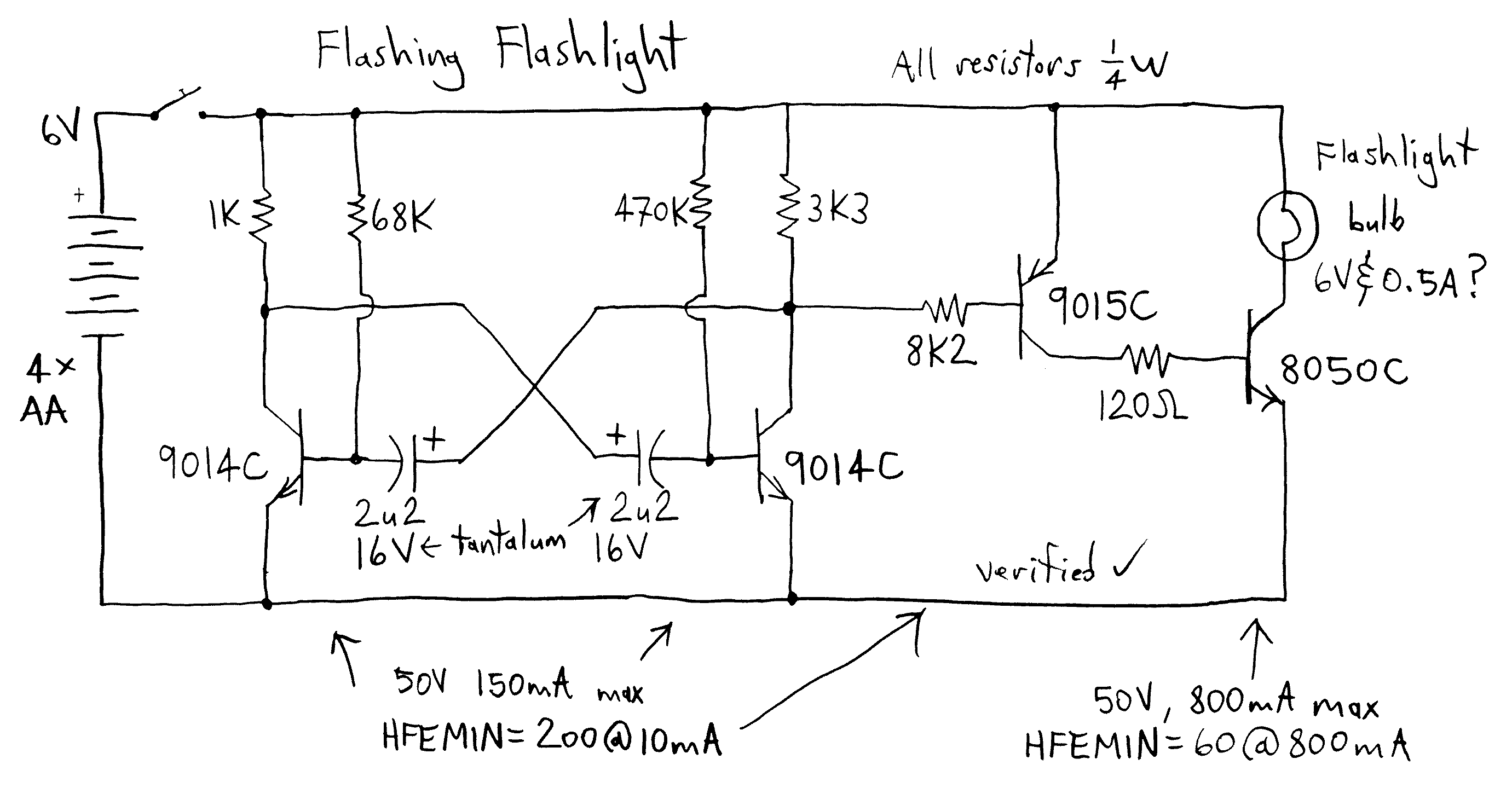 Flashing Flashlight - schematic